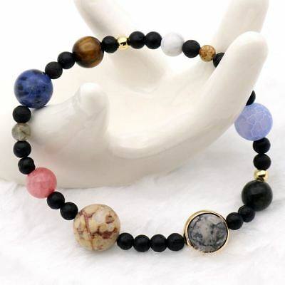 Solar System 9 Planets Universe Stars Women Office Style Natural Stones Beaded S