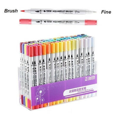 Dual 0.4 Fineliners & Brush Highlighter Art Paint Ink Pen Markers Pens 80 Colors