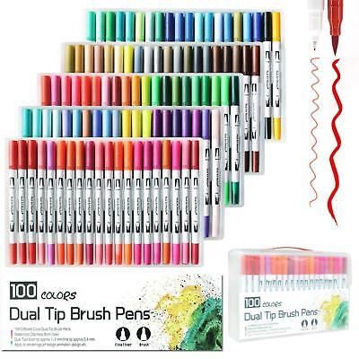 New Candy Colors Dual Tip Brush Markers Pens Set Art Paint Broad Watercolor ink
