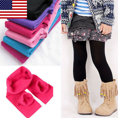 3-12Years Kids Girls Winter Warm Thick Fleece Leggings Stretchy Cotton Trouser