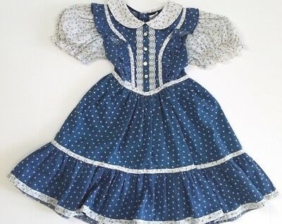 Vintage Bryan Toddler Dress Country Floral Lace Ruffles Size 6 Twirl Dress