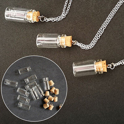 10pcs Mini Perfume Bottle Glass Small Bottle Oil Container Necklace Accessory