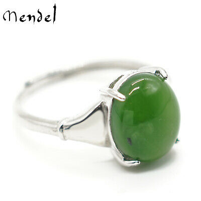 Womens Vintage Sterling Silver Genuine A Grade Chinese Natural Green Jade Ring
