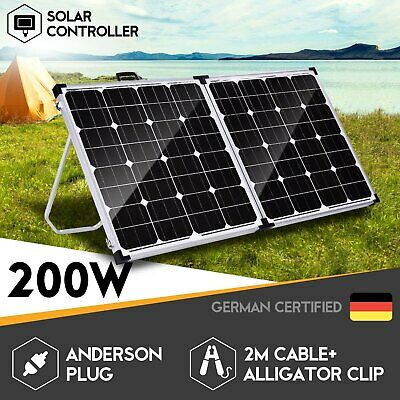 Mono 200W Folding Solar Panel Kit Caravan Camping Power 12V Charging Battery