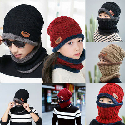 1a656308408 USA Winter Beanie Hat Scarf Set Fleece Warm Balaclava Snow Ski Cap for Kid  Man