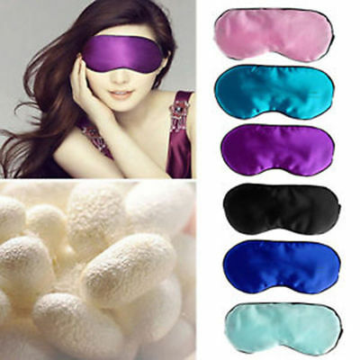 1pc Faux Satin Blackout Sleep Eye Mask Padded Shade Cover Nights Travel Holiday