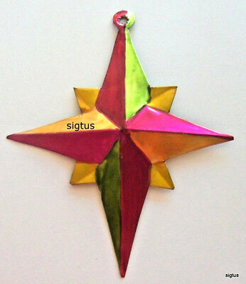 Mexican Hand Painted Tin Star Ornament for Christmas Tree or Other Decor! MINT