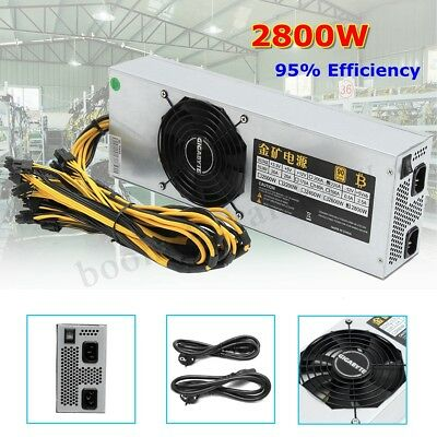 2800W 95% Gold Mining Power Supply F/ ATX Bitcoin Miner Rig Ethereum S7 S9 L3 AU