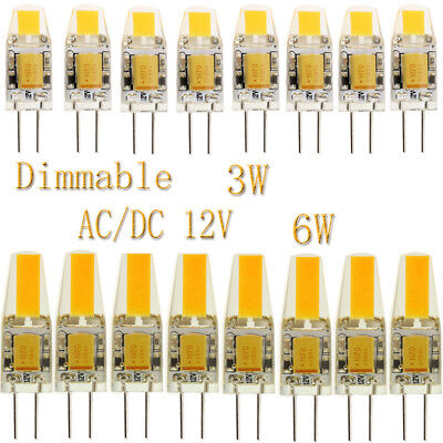 50X 10X G4 3W 6W COB Dimmable LED Bulbs Lights Lamp Silicone Crystal AC DC 12V