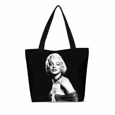 6dd219c30dfe Womens Marilyn Monroe Large Capacity Zip Canvas Tote Shopper Shoulder Bag  Purse