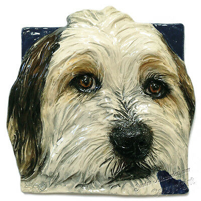 Bearded Collie Tile Ceramic handmade bas-relief Made to Order Alexander Art