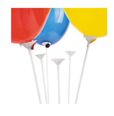 10 Pcs White Balloon Sticks Holders with Cups for Wedding Party Decor