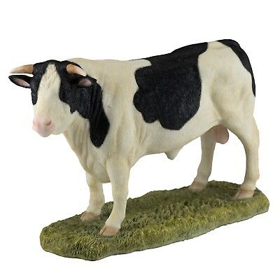 "Holstein Bull Dairy Cow Figurine Statue 8"" Long Highly Detailed Polystone New!"