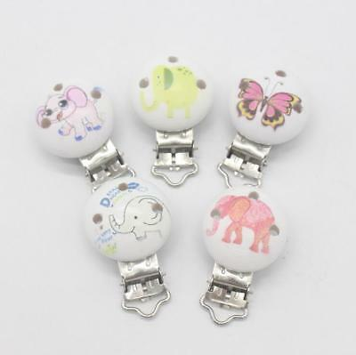 2pcs Cartoon Elephant Baby Pacifier Clip Safety Wooden Teether Accessories