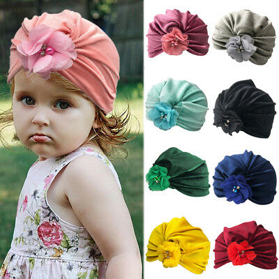 Girl Toddler Indian Velvet Pleated Turban Headwrap Beanie Cap Baby Hat Cute