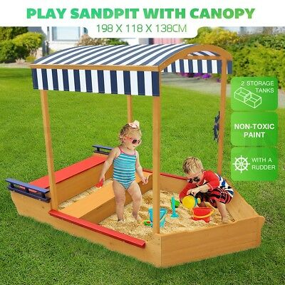 Kids Sand Pit Outdoor Play Set Sandbox Wooden Sandpit Children Toy w/Canopy