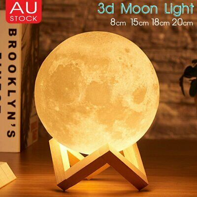 Dimmable 3D Magical Moon Lamp USB LED Earth Light Moonlight Touch Sensor Lamp