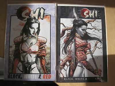 """SHI : """"BLACK, WHITE & RED"""", COMPLETE 2 ISSUE SERIES by SNIEGOSKI & JG JONES.1998"""