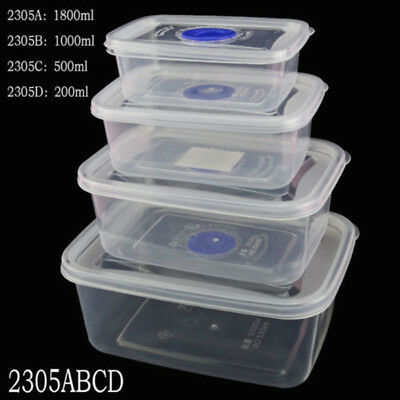 Plastic Storage Containers Set Clear W/ Lids Lunch Box Food Takeaway Kitchen New