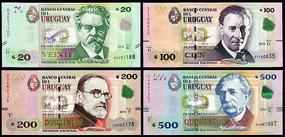 URUGUAY Set 4 Banknotes: 20, 100, 200, 500 PESOS 2018 (2015) UNCIRCULATED / NEW