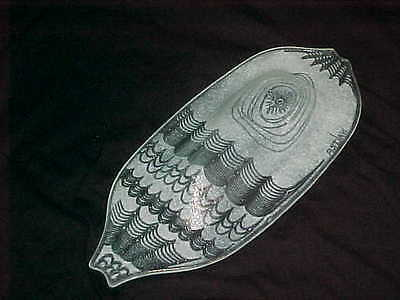 Signed Edwin Walter Art Glass Bowl Midcentury Modern Abstract White Fish Design