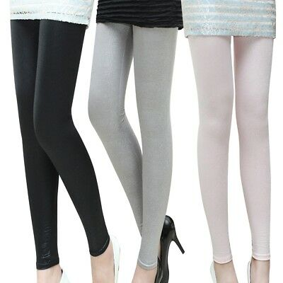 Simple Womens Ladies Stretchy Leggings Solid Color Skinny Pencil Pants Trousers