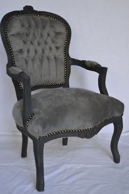 LOUIS XV ARM CHAIR FRENCH STYLE CHAIR VINTAGE FURNITURE grey velvet