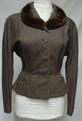 1950s Vintage CURVY FITTED WOOL SUIT JACKET WITH MINK COLLAR BLAZER