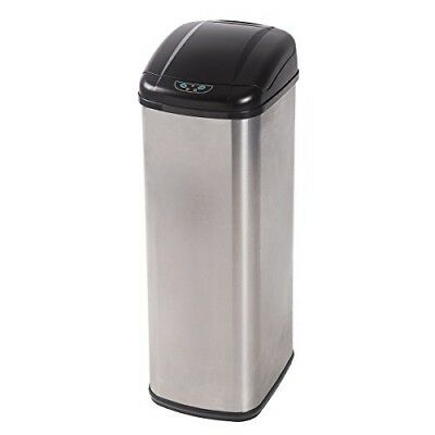 New Sale 13-Gallon Touch-Free Sensor Automatic Stainless-Steel Trash Can Kitchen