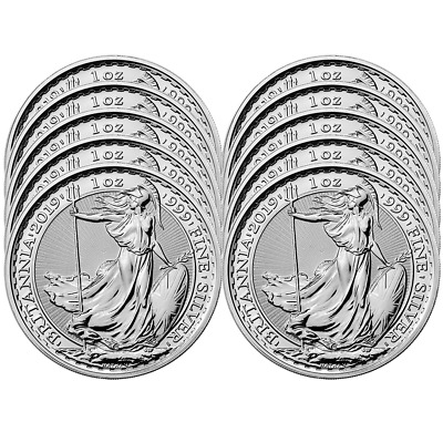 Lot of 10 - 2019 U.K. 2 Pound Silver Britannia .999 1 oz Brilliant Uncirculated