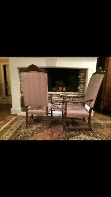 Pair of Vintage Highback Armchairs,upholstered seats and backs, good condition