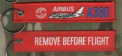 Keyring 2PC SET REMOVE BEFORE FLIGHT Airbus A380 double-deck wide-body 4-engine