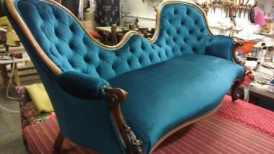 Original Antique Victorian Settee Sofa Loveseat Carved Newly Refurbished Velvet