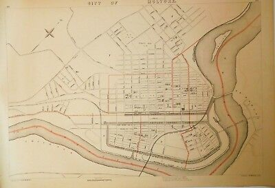 1891 Original Map City of Holyoke MA Mass Old NR Vintage Massachusetts