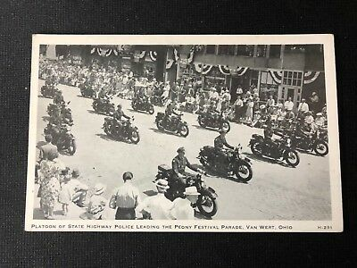 Period Real Photo Post Card Motorcycle State Police Highway Platoon
