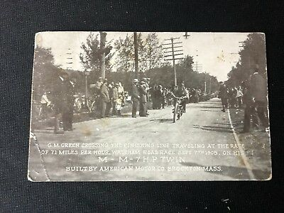Period Real Photo Post Card Racer On A Mm Twin Motorcycle G.m. Green 1908 71 Mph