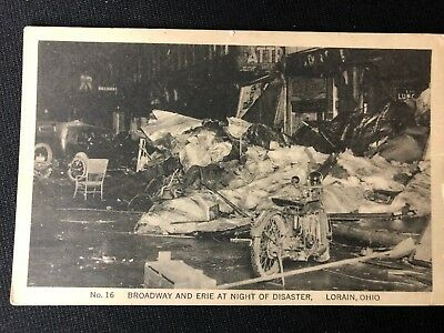 Period Real Photo Post Card Early Harley Davidson Motorcycle @ Disaster In Ohio