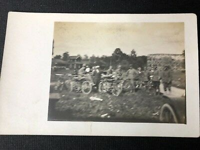 Period Real Photo Post Card Very Early Meet Of Small Group Of Motorcycles