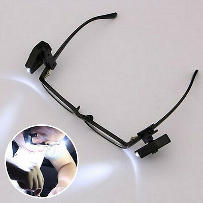 Universal Flexible LED Eyeglass Clip On Safety Glasses Reading lights Tool SALE