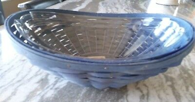 Longaberger RARE Blue stain Swoop Bowl basket & protector MINT FREE SHIPPING!