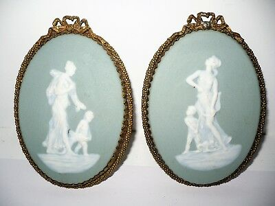 Pair Of Antique Limoges Jasperware Framed Plaques Camille Tharaud Wedgwood Style