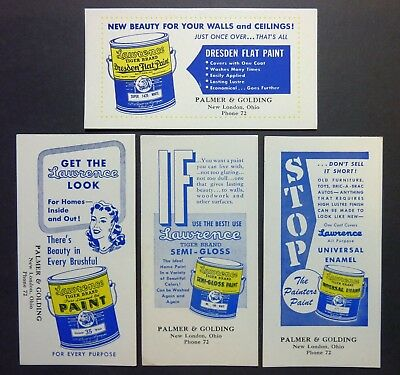 """4 LAWRENCE PAINT Ink Blotters - 3¼""""x6¼"""", 1940's, New London OH, Great Cond"""