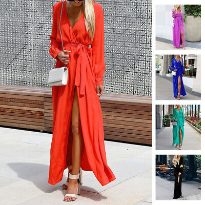 Womens Sexy Deep V-neck Long Sleeves High Split Party Cocktail Maxi Long Dress