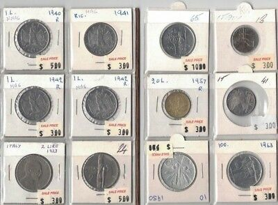 1923 to 1965 Italy 12 coins, Clearance