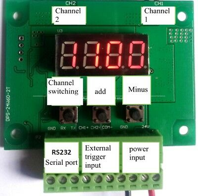 Dual Channel Digital Display Controller Machine Vision Light Dimming Board RS232