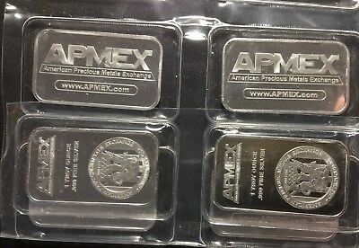 FOUR 1 Troy oz. .999 Pure Fine Silver SEALED Bar LOT Bullion 4 Bars APMEX Eagle