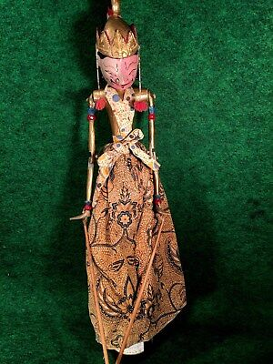 Antique Indonesian Java Wayang Marionette Stick Puppet Painted Wood Headdress #A