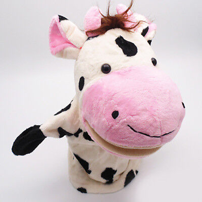 Soft Kids Hand Puppet with Movable Mouth Animal Cows Plush Toy Doll Cartoon Gift