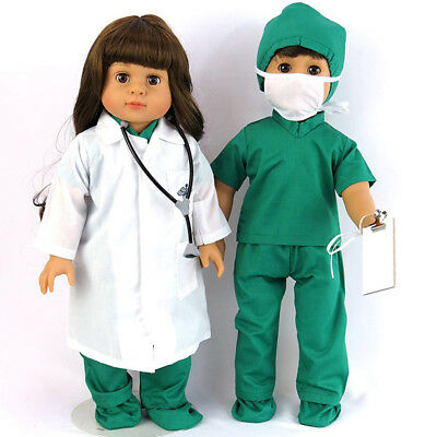 "Doctor Nurse 7pcs Set Doll Clothes Pants For 18"" Our Generation My Life Dress up"