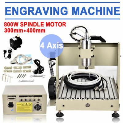 3040 4AXIS CNC Router Engraver 3D Drilling Milling Carving Machine 800W VFD USB